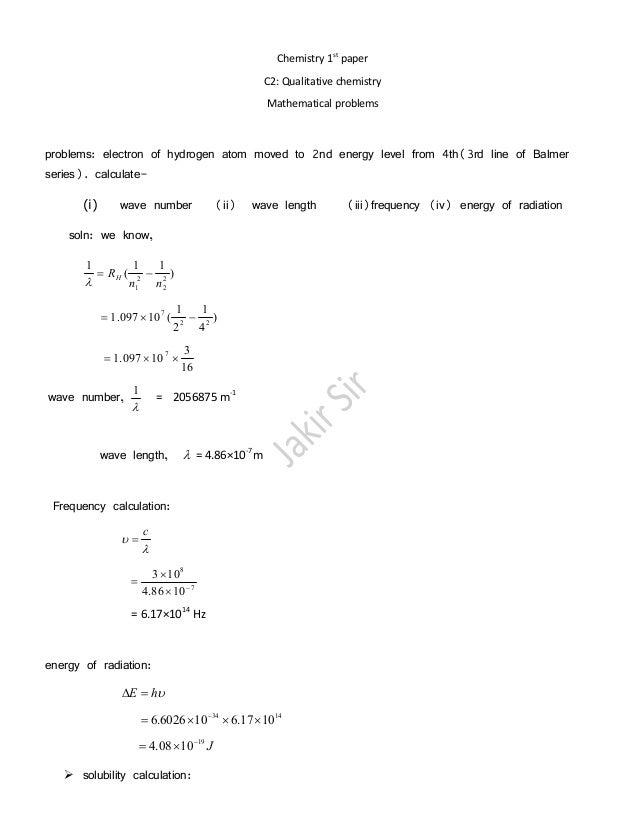 chemistry math problems