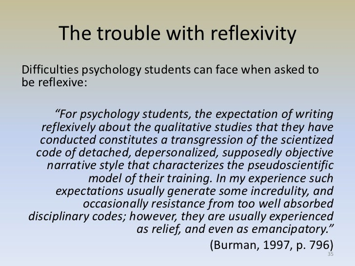 the role of reflexivity in ethnography essay Linda finlay, in her 2002 article, identifies five ways to go about reflexivity - introspection, inter-subjective reflection, mutual collaboration, social critique, and discursive deconstruction - and discusses utilizing these techniques in order to understand the interviewer's role in the interview context and how to use this knowledge.