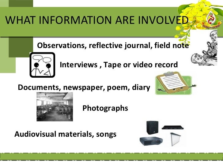 WHAT INFORMATION ARE INVOLVED       Observations, reflective journal, field note             Interviews , Tape or video re...