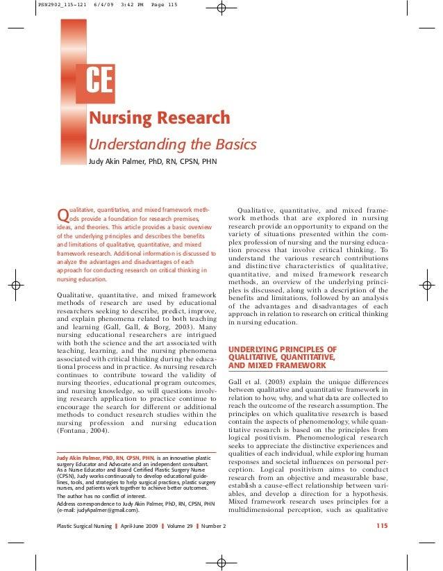 PSN2902_115-121  6/4/09  3:42 PM  Page 115  CE Nursing Research Understanding the Basics Judy Akin Palmer, PhD, RN, CPSN, ...