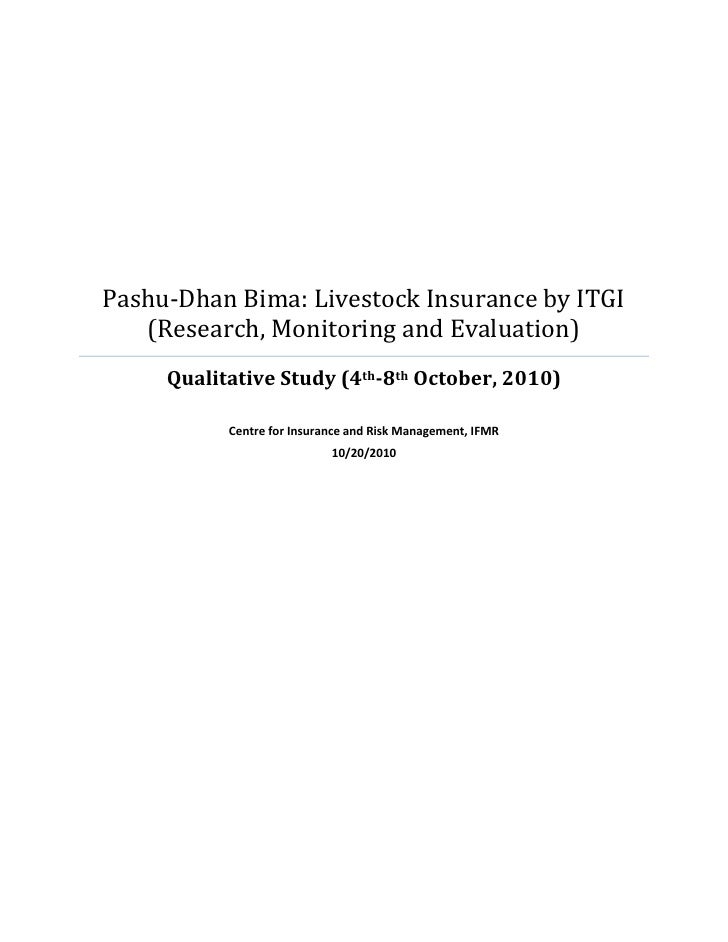Pashu-Dhan Bima: Livestock Insurance by ITGI   (Research, Monitoring and Evaluation)     Qualitative Study (4th-8th Octobe...