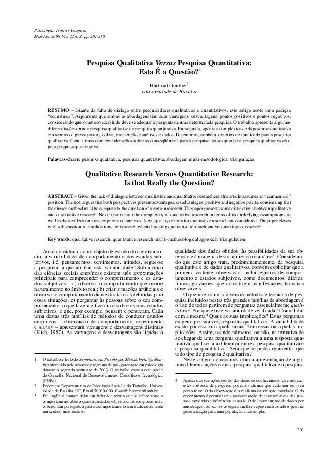 Psicologia: Teoria e PesquisaMai-Ago 2006, Vol. 22 n. 2, pp. 201-210                             Pesquisa Qualitativa Vers...