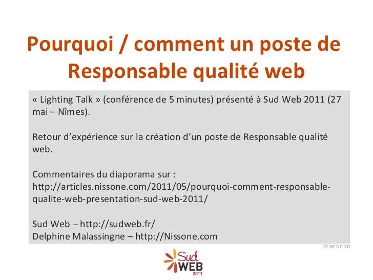 «Lighting Talk» (conférence de 5 minutes) présenté à Sud Web 2011 (27 mai – Nîmes). Retour d'expérience sur la création ...