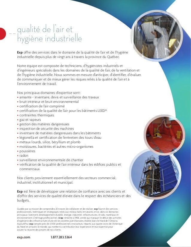 Exp offre des services dans le domaine de la qualité de l'air et de l'hygiène industrielle depuis plus de vingt ans à trav...