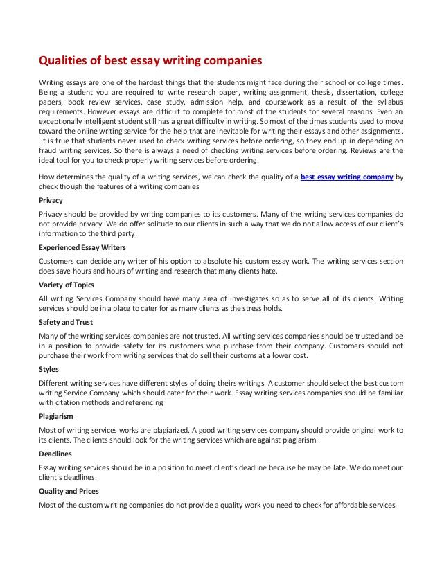 Reviews on essay writing companies