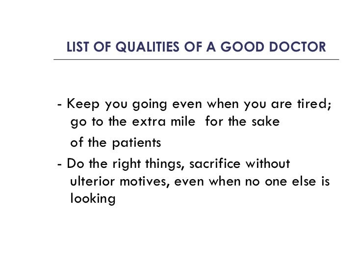 Qualities of a doctor essay