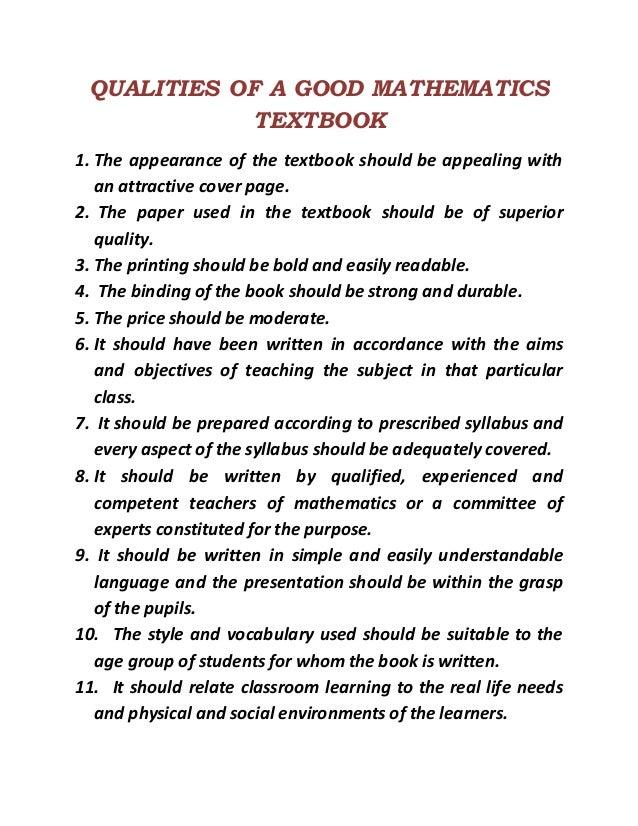 Qualities of a good mathematics textbook – Mole Ratio Worksheet