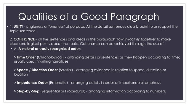 features of paragraph writing