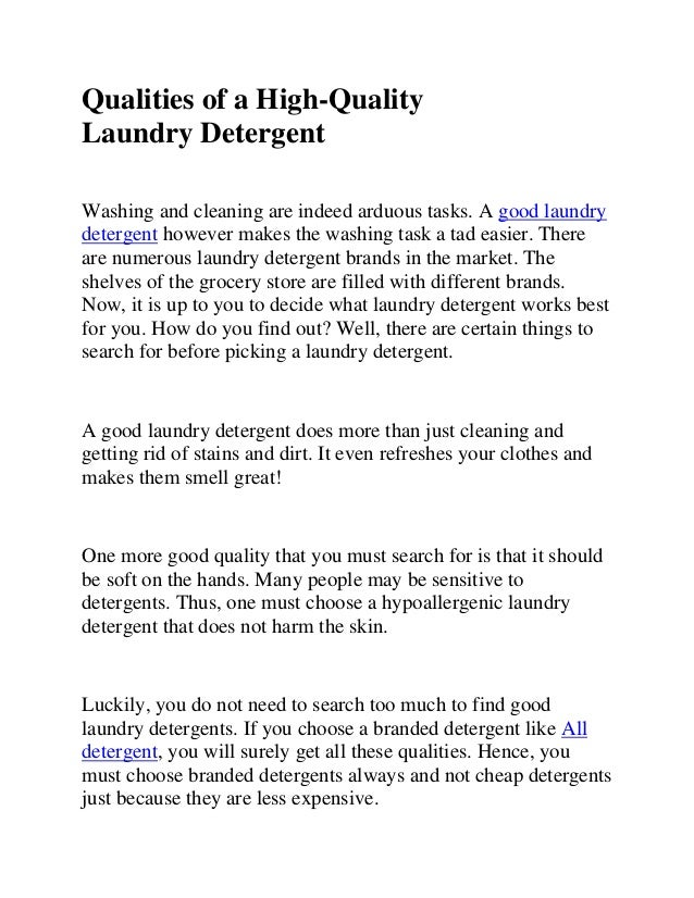 qualities of a high quality laundry detergent. Black Bedroom Furniture Sets. Home Design Ideas