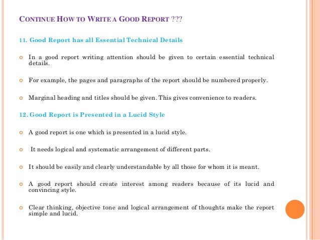 essential qualities of good business report
