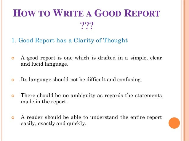 Good report writing