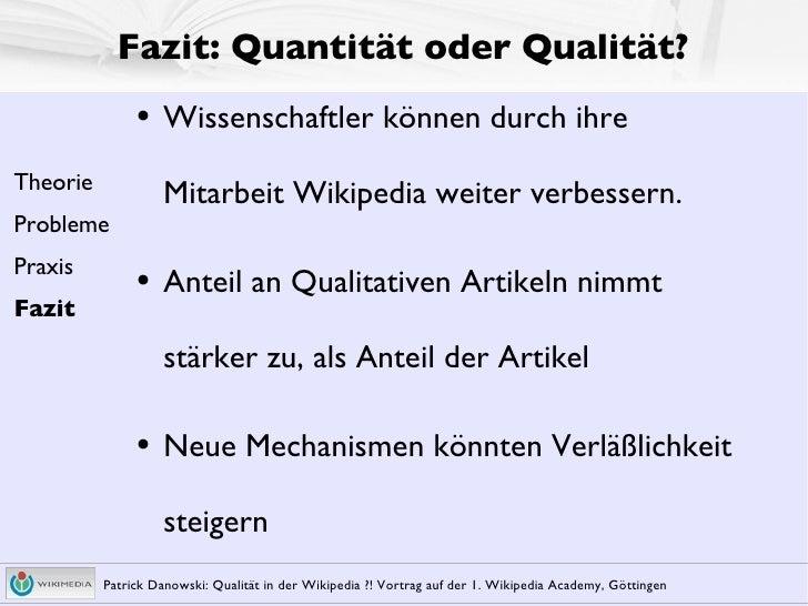 Qualit䴠in Der Wikipedia