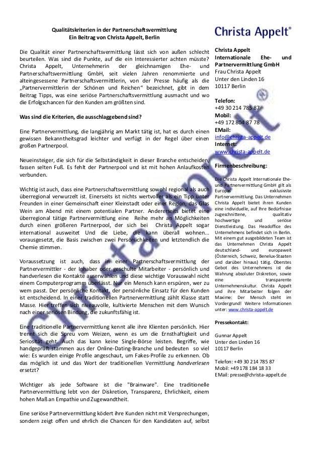 Qualitätskriterien in der Partnerschaftsvermittlung  Ein Beitrag von Christa Appelt, Berlin  Die Qualität einer Partnersch...