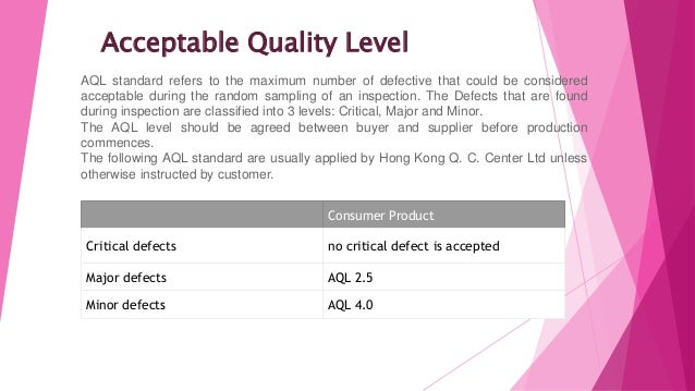 Acceptable Quality Level Consumer Product Critical defects no critical defect is accepted Major defects AQL 2.5 Minor defe...