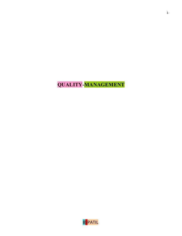 1QUALITY-MANAGEMENT      BSPATIL