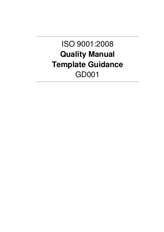 Quality manual template guidance example for Iso 9001 procedures templates