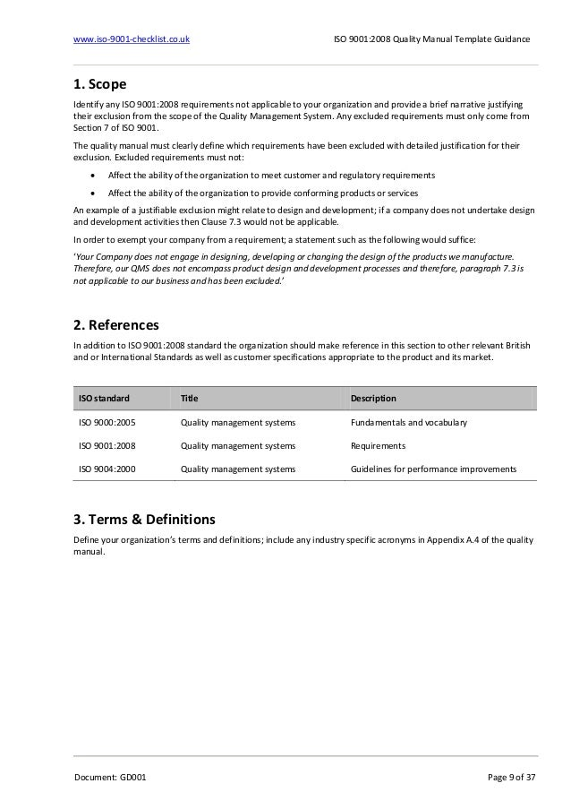 Quality Manual-Template-Guidance-Example