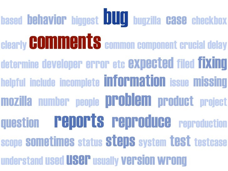 bug bugzilla case checkbox           behavior biggest based            comments common component crucial delay clearly det...