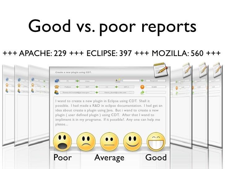 Good vs. poor reports +++ APACHE: 229 +++ ECLIPSE: 397 +++ MOZILLA: 560 +++             Create a new plugin using CDT.    ...