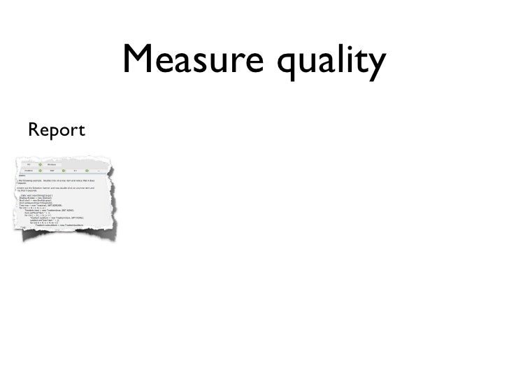Measure quality Report