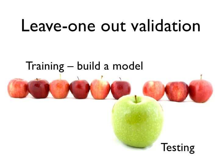 Leave-one out validation  Training – build a model                                Testing
