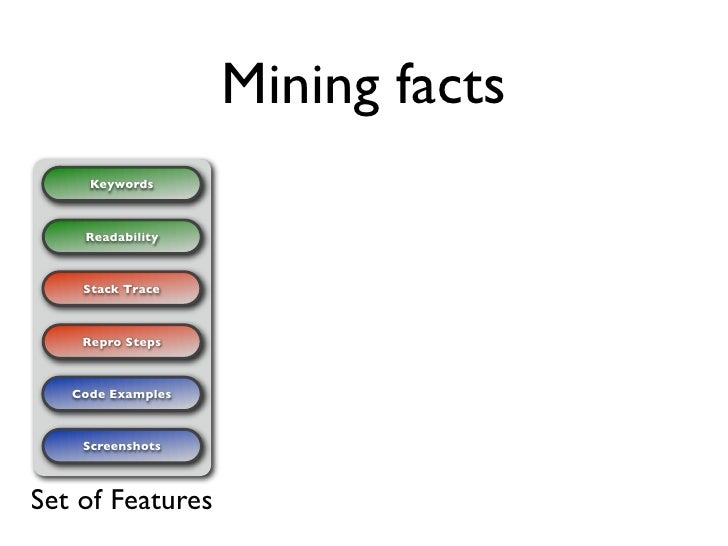 Mining facts      Keywords        Readability        Stack Trace        Repro Steps       Code Examples        Screenshots...