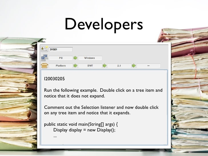 Developers   175222     I20030205  Run the following example. Double click on a tree item and I wand to create a new plugi...