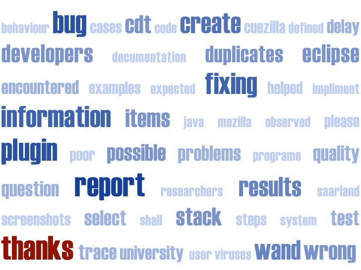 bug cases cdt code create cuezilla defined delay behaviour developers                            duplicates eclipse       ...