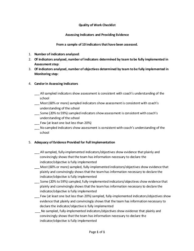 Page 1 of 1 Quality of Work Checklist Assessing Indicators and Providing Evidence From a sample of 10 indicators that have...