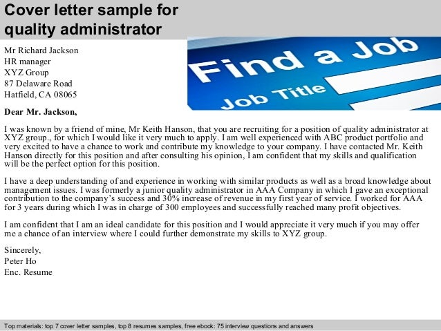 Cover Letter Sample For Quality Administrator ...