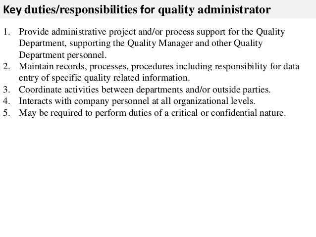 2 key dutiesresponsibilities for quality administrator 1 provide administrative. Resume Example. Resume CV Cover Letter