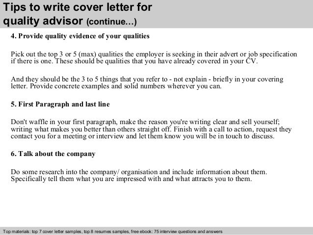 Quality Advisor Cover Letter
