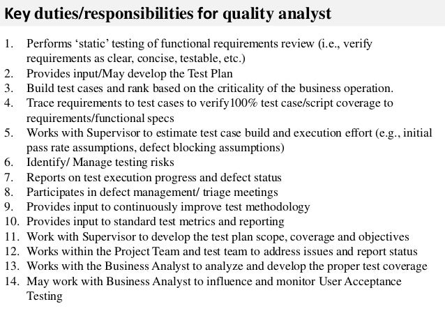 Quality analyst job description
