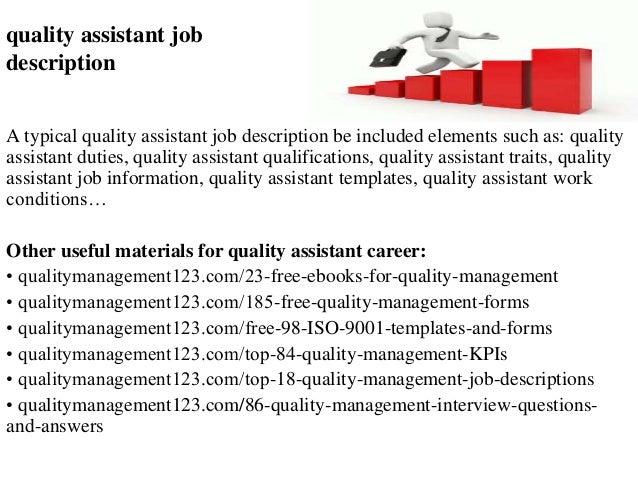 Quality Assistant Job Description A Typical Quality Assistant Job  Description Be Included Elements Such As: ...