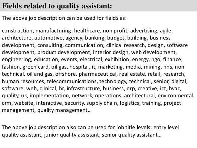 quality assistant job description
