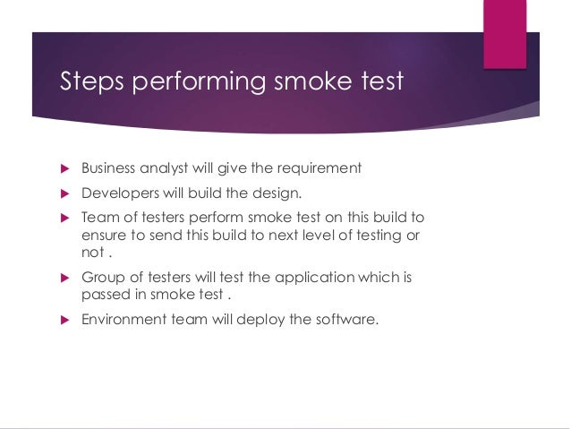 what is a smoke test on a software application