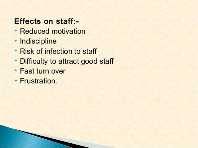 Effects on staff: Reduced motivation  Indiscipline  Risk of infection to staff  Difficulty to attract good staff  Fas...