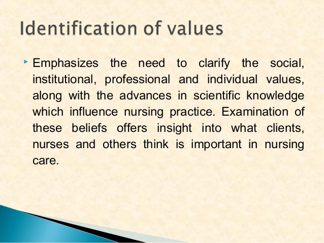   The standards and criteria derived from the values describe the level of nursing care considered acceptable. These stan...