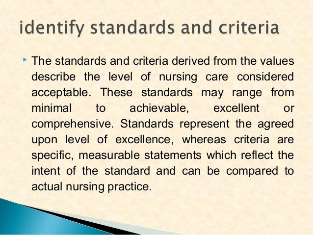     The next component involves the measurement of current nursing practice against the established standards and criter...