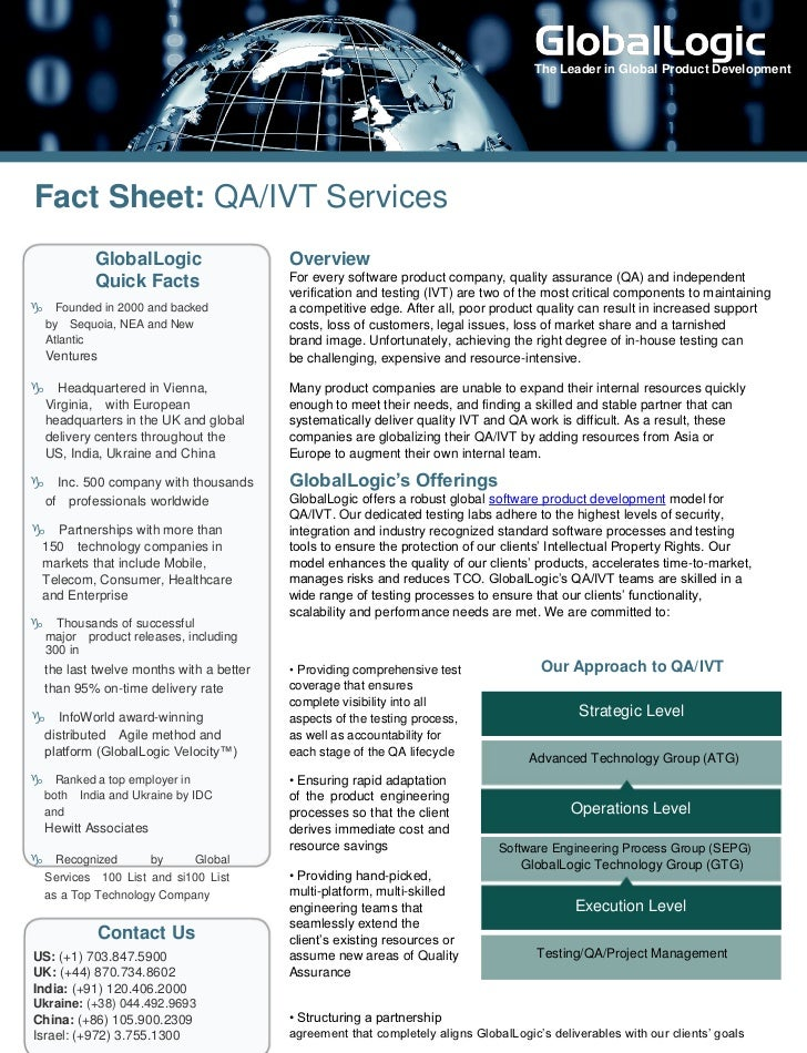 The Leader in Global Product DevelopmentFact Sheet: QA/IVT Services          GlobalLogic                    Overview      ...