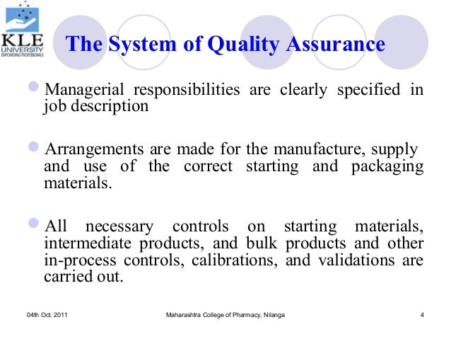 Quality assurance and regulatory compliance for pharmaceutical product – Quality Control Job Description