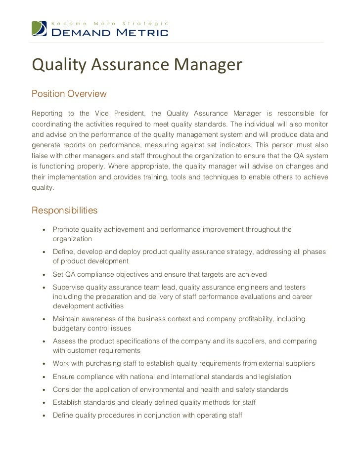 Quality Assurance Manager Job Description – Quality Control Job Description