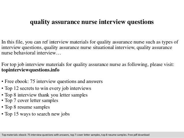 quality assurance nurse interview questions in this file you can ref interview materials for quality - Qa Interview Questions And Answers Quality Assurance Interview