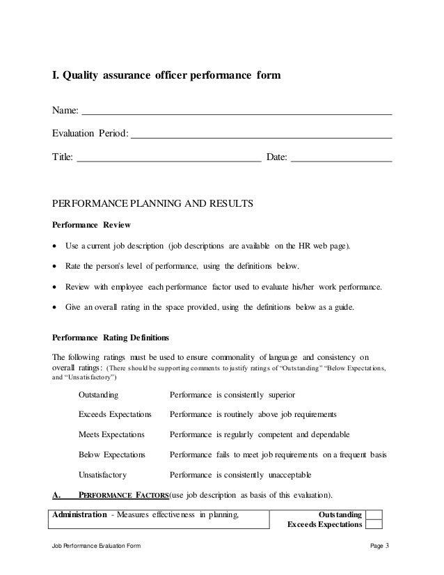 Quality assurance officer performance appraisal – Quality Assurance Job Description