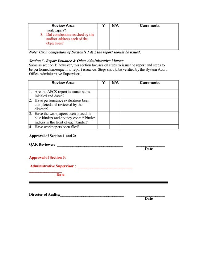Workpaper review