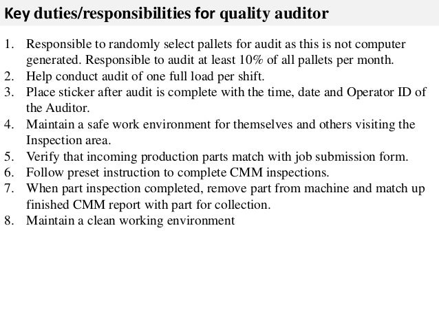 Quality Auditor Job Description