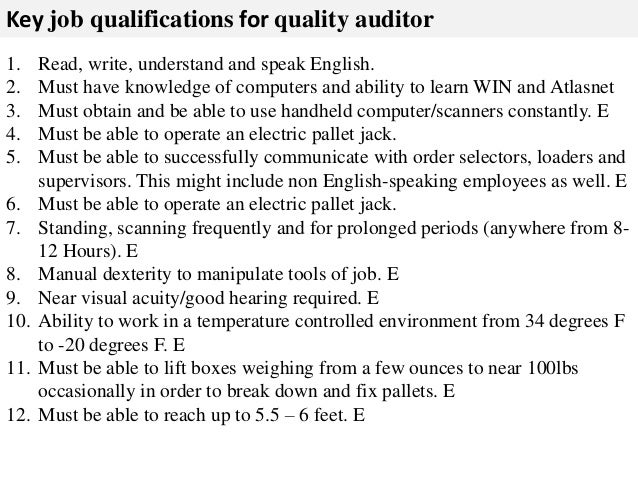 Quality auditor job description – Auditor Job Description