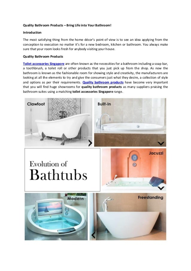 Quality Bathroom Products in Singapore