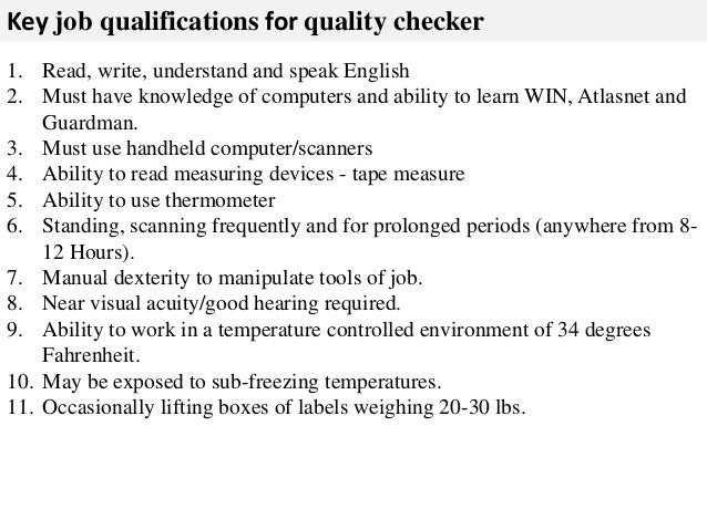 Check Product As Received On Dock; 3. Key Job Qualifications ...