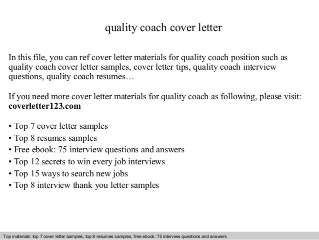 Quality Coach Cover Letter In This File, You Can Ref Cover Letter Materials  For Quality ...